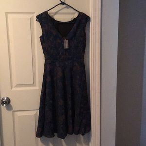 Blue/gold sleeveless dress